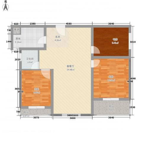 永新苑・西区3室1厅1卫1厨81.47㎡户型图