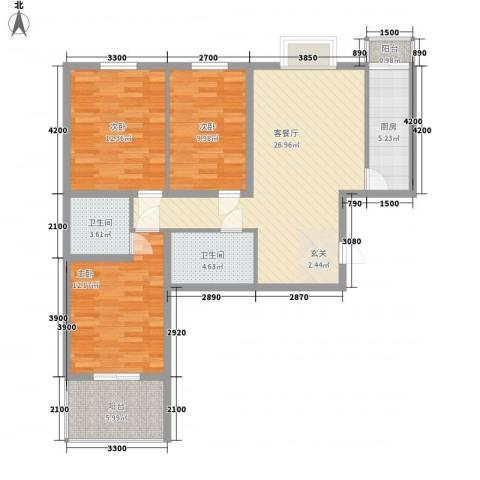 龙华・绿视界项目3室1厅2卫1厨106.00㎡户型图