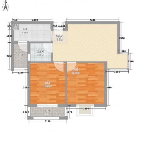 谢岗山水花城2室1厅1卫1厨63.00㎡户型图
