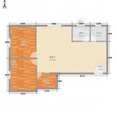 服装城煤炭厅宿舍3室1厅1卫1厨122.00㎡户型图