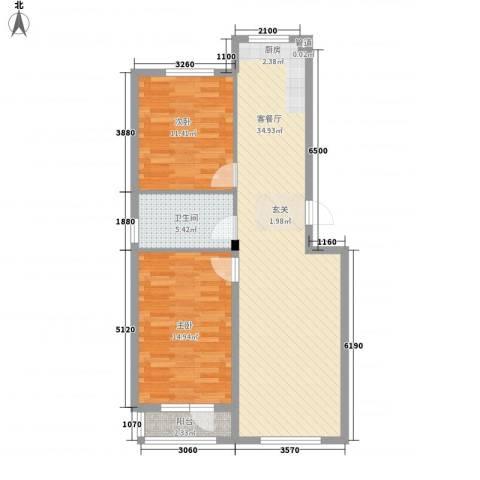 泰锋俪景城2室1厅1卫0厨95.00㎡户型图
