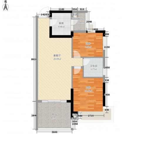 长沙恒大城2室1厅1卫1厨91.00㎡户型图