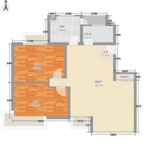 金枫苑阳光水岸2室1厅1卫1厨105.00㎡户型图