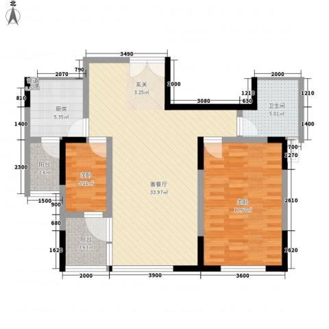 顺驰滨江奥城2室1厅1卫1厨106.00㎡户型图