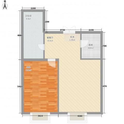 光达大厦1室1厅1卫1厨106.00㎡户型图