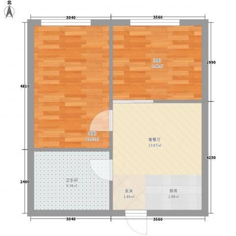 银领国际公寓2室1厅1卫0厨60.00㎡户型图