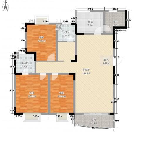 乡村花园南艳湾3室1厅2卫1厨180.00㎡户型图