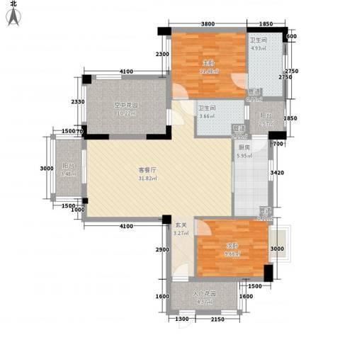 富恒浅水湾2室1厅2卫1厨106.00㎡户型图