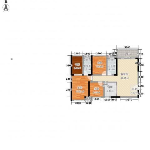 鸿翠阁4室1厅2卫1厨97.27㎡户型图