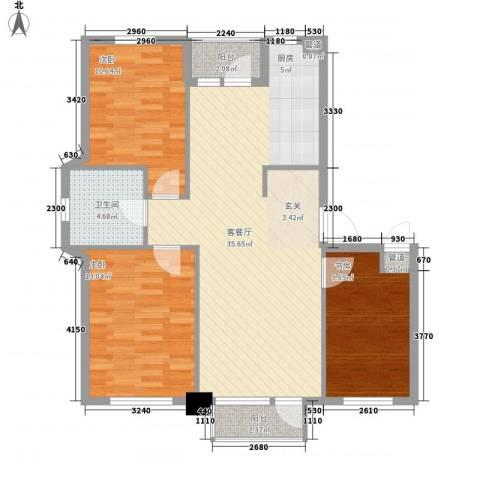 二十里景致3室1厅1卫0厨110.00㎡户型图
