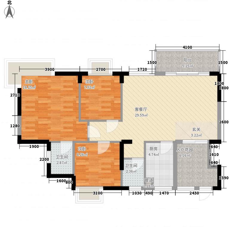 西湖东郡E1户型3室2厅2卫1厨