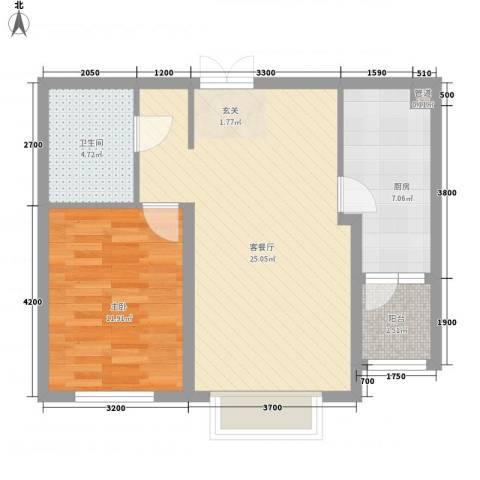 宏润翠湖天地1室1厅1卫1厨73.00㎡户型图