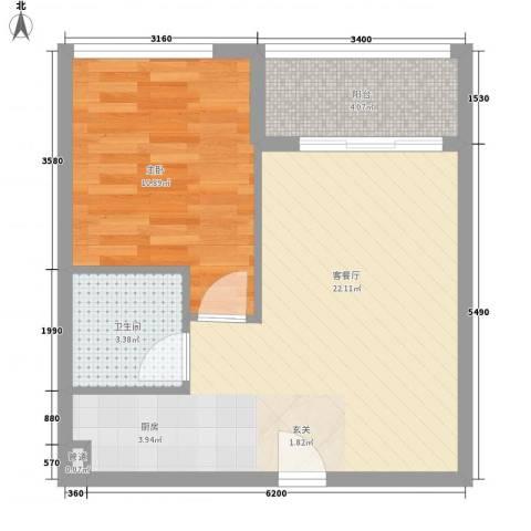龙城国际1室1厅1卫0厨53.00㎡户型图