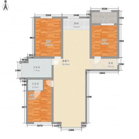 中油呼炼小区3室1厅2卫0厨145.00㎡户型图