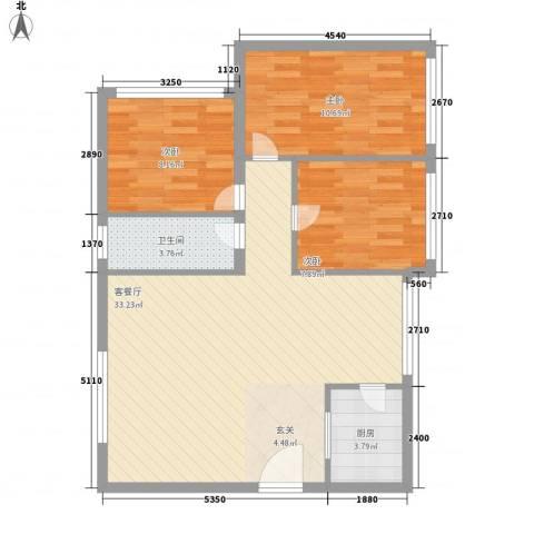 省戒毒所宿舍3室1厅1卫1厨94.00㎡户型图