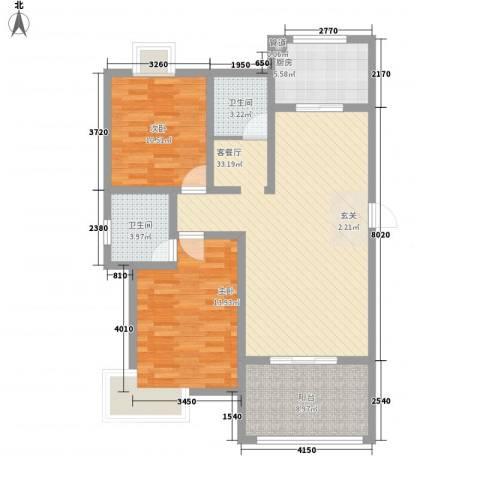 如意花园2室1厅2卫1厨91.59㎡户型图