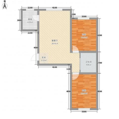 宝来雅居2室1厅1卫1厨87.00㎡户型图