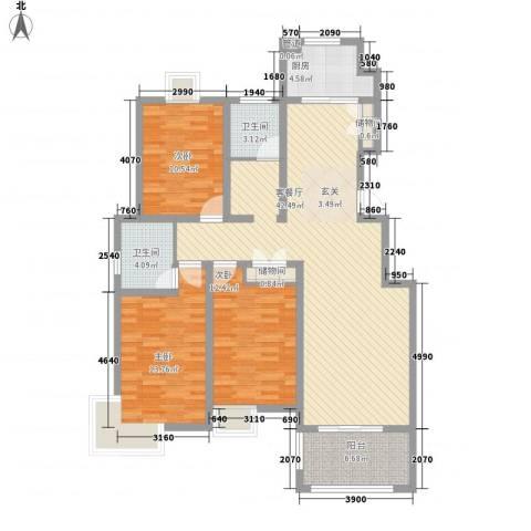如意花园3室1厅2卫1厨114.89㎡户型图
