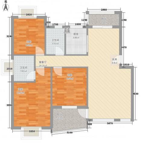 昌北财大宿舍3室1厅2卫1厨112.00㎡户型图