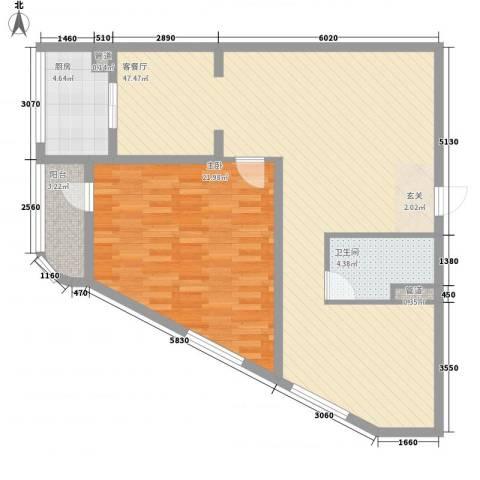 云顶国际公馆1室1厅1卫1厨116.00㎡户型图