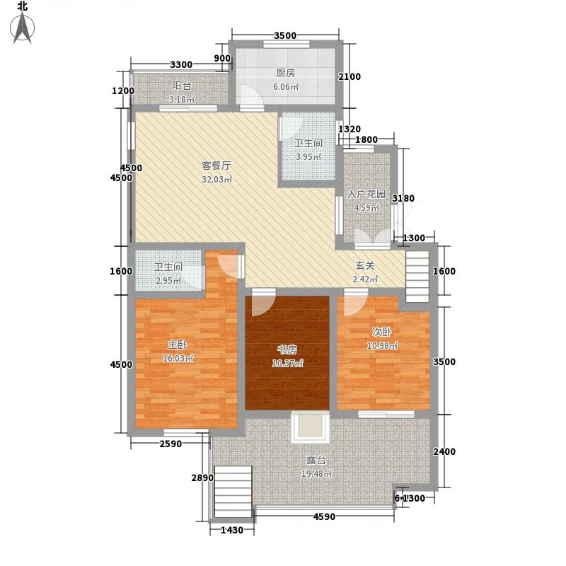 国泰山居笔记111.62㎡花园洋房A2一层户型3室2厅2卫1厨