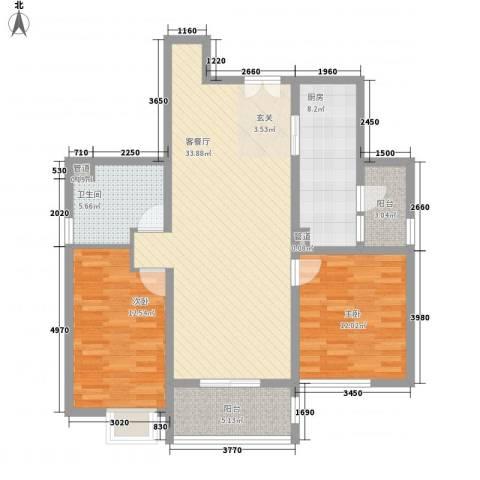 育秀九区2室1厅1卫1厨116.00㎡户型图