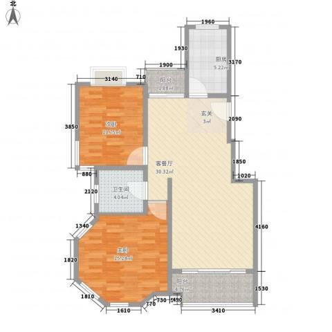嘉禾一方2室1厅1卫1厨101.00㎡户型图