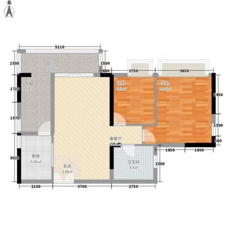 庄士8号2室1厅1卫1厨101.00㎡户型图