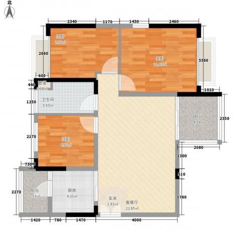时代廊桥3室1厅1卫1厨91.00㎡户型图