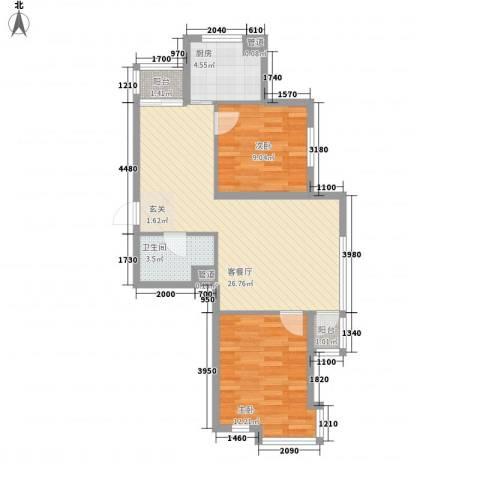 聚鑫小区三期2室1厅1卫1厨84.00㎡户型图