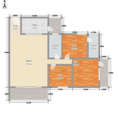 宏城大厦3室1厅2卫1厨196.00㎡户型图