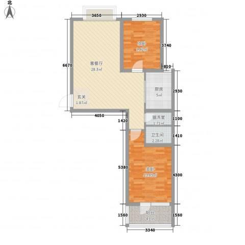 华福国际2室1厅1卫1厨88.00㎡户型图