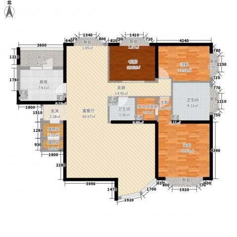 怡富花园3室1厅2卫1厨132.60㎡户型图