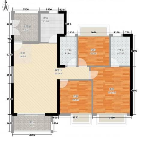 庄士8号3室1厅2卫1厨123.00㎡户型图