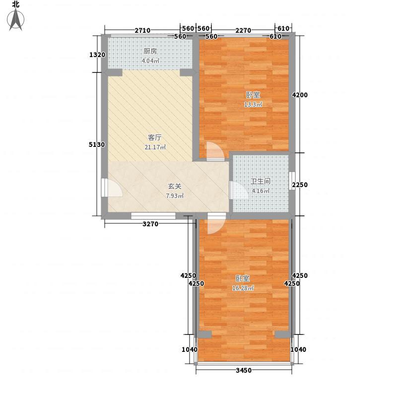 汇金78.00㎡小区C户型2室1厅1卫1厨