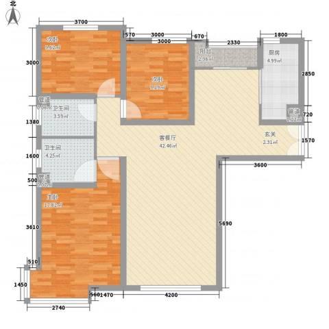 亚泰・洋房墅院3室1厅2卫1厨174.00㎡户型图