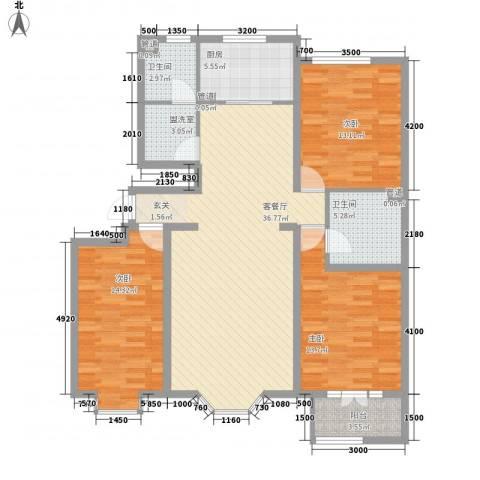三隆世纪城3室1厅2卫1厨131.00㎡户型图