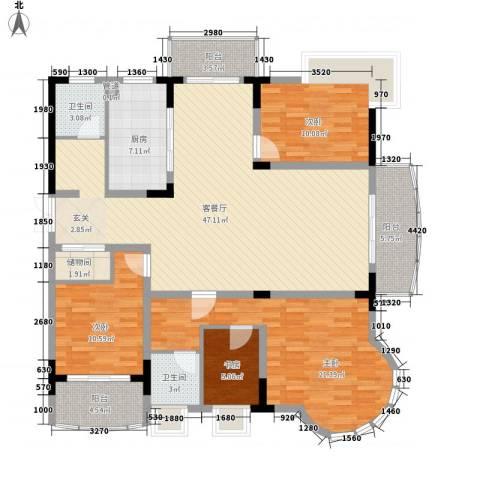 乡村花园南艳湾4室1厅2卫1厨159.00㎡户型图