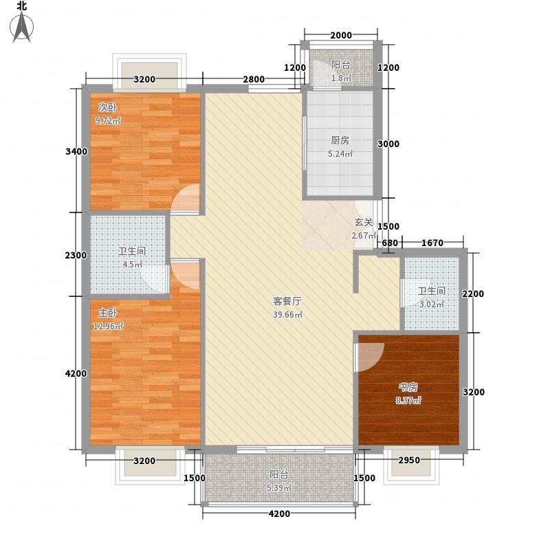 贺兰新天地128.23㎡住宅C户型3室2厅2卫1厨