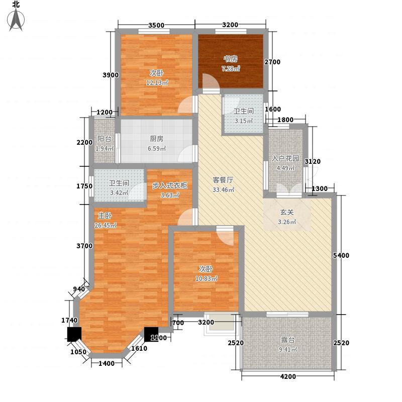 国泰山居笔记132.46㎡花园洋房A1二层户型4室2厅2卫1厨