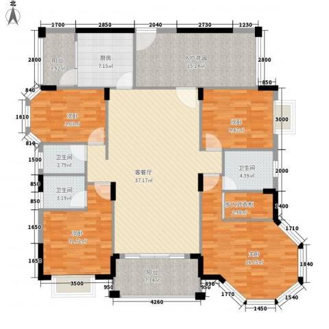 帝景蓝湾4室1厅3卫1厨131.34㎡户型图