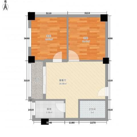 锦旺苑2室1厅1卫1厨67.00㎡户型图
