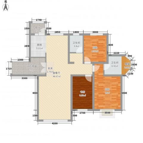 宏润翠湖天地3室1厅2卫0厨142.00㎡户型图