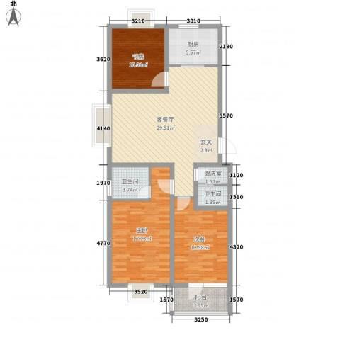 华福国际3室1厅2卫1厨123.00㎡户型图