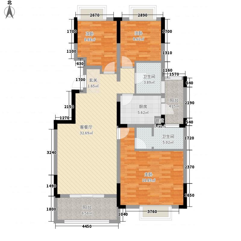 鸿府一期21号楼标准层户型3室2厅2卫1厨