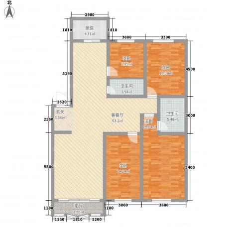 锦绣花园4室1厅2卫1厨177.00㎡户型图