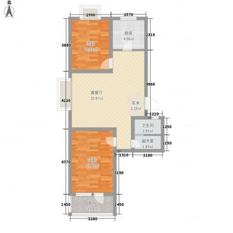 华福国际2室1厅1卫1厨89.00㎡户型图