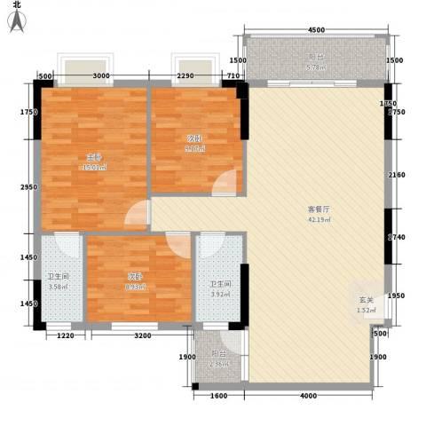 东汇家园3室1厅2卫0厨115.00㎡户型图