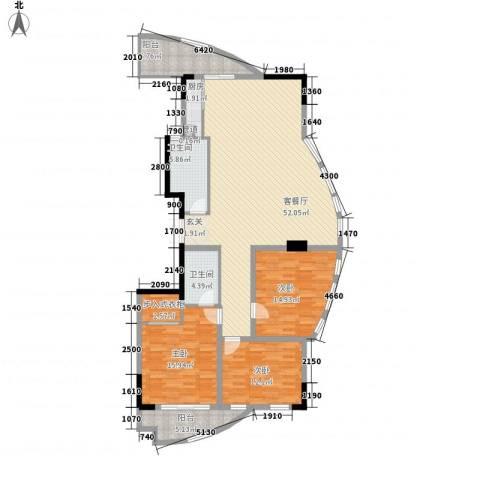 北岸琴森3室1厅2卫1厨145.00㎡户型图