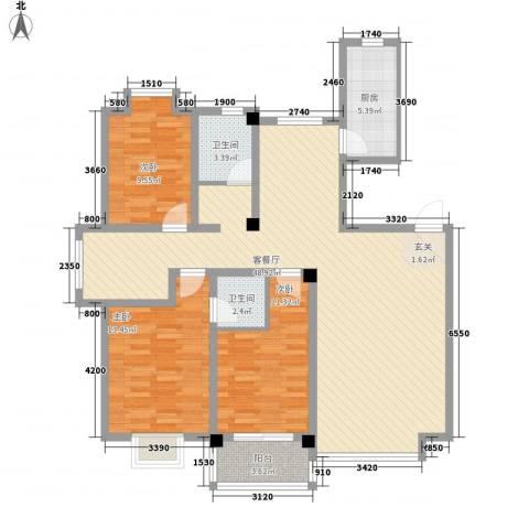 利丰花园3室1厅2卫1厨142.00㎡户型图
